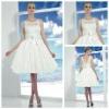 Sleeveless Lace Top Taffeta Knee Length Short Country Wedding Dresses
