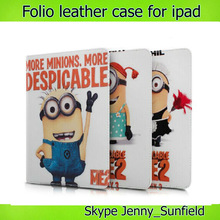 Tablet case cover Despicable Me Minions folio leather case for Ipad 2 3 4, for ipad case folio leather