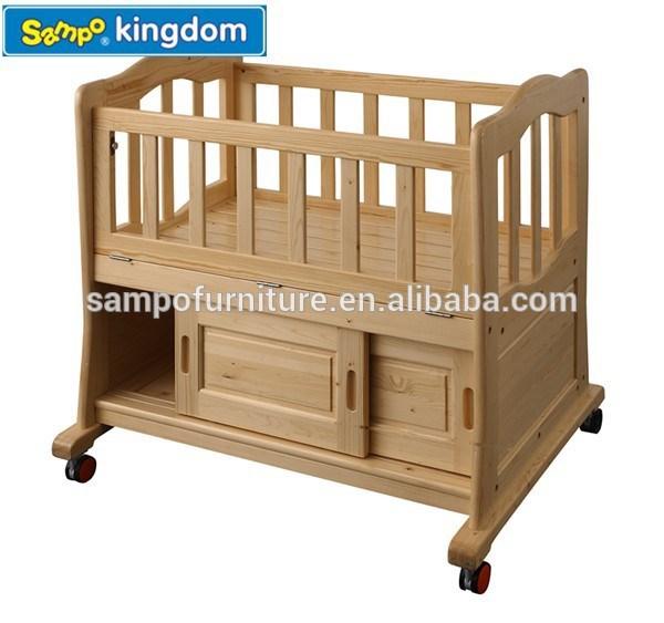 Wooden baby bed baby crib set born baby bed SP-P020