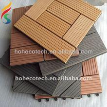 Wood grain interlocking finished wpc decking tile