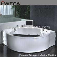 2 Person Round Corner Massage bathtub with TV