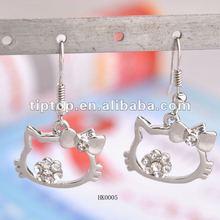 Hello kitty/alloy/stone/drop earring