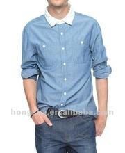Contraste Collar camisa azul HSB008