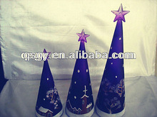 hand blown purple glass Xmas tree with snow picture