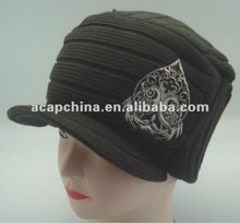 Knitted military hat with peak