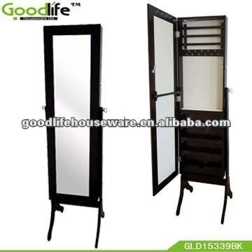 sala de estar de longitud completa espejo de pie con marco de madera