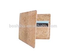 Boshiho leather handicrafts 2014 new fashion cork fabric man wallet