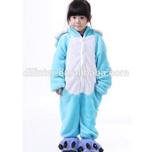 Bright winter thick blue one piece animal style pajamas for kids