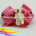 pure white couleur agricolesveuillez ours dans la pêche plaid ruban arcs de cheveux pour la décoration
