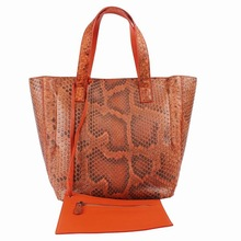 Luxurious ladies Leather Handbag in real python skin with a removable pouch