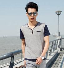 mens wear neck design of blouse models slim fit men shirts man male t-shirt grey free size