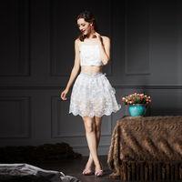 YIGELILA 2015 Latest Women Fashion Elegant Lace Spaghetti Strap Skirt Suits 890