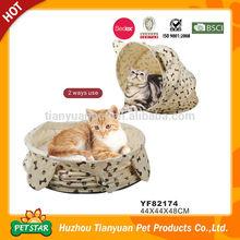 Unique Design 2 Ways Use Long Fur Warm Cushion Burger Bun Pet Cat Bed