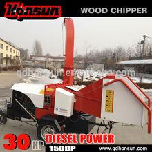 (150DP) Double hydraulic feeding mobile 30HP diesel wood chipper