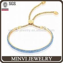 Antique jewellery stone Blue crystal paved bangle bracelet gift&craft