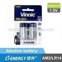 High capacity Vinnic c size lr14 battery 1.5v Best quality in China alkaline battery