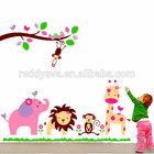 Lion Elephant and birds EVA Animal Wall Stickers