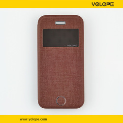 2014 New design soft hand feeling leather case for iphone5 with view window and stand function