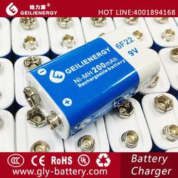 NI-MH 200mah high capacity 6f22 9v rechargeable battery packs