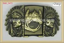 Cavalo cabeça de ouro indiano lighter fivela de cinto