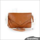 Pure Colour Leather Envelope Clutch Lady Handbag