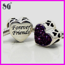 "Authentic 925 ""Forever friend"" heart design beads with purple cz charms fit for european bracelet"
