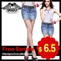 alta qualidade da moda meninas em saias curtas mini saia jeans 2033