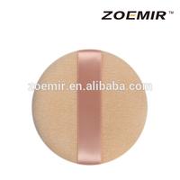 Pink cotton circular facial powder puff with silk handle