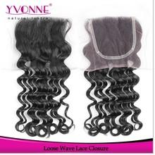 Loose wave virgin peruvian hair closure,cheap human hair lace closure