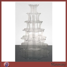 Clear durable crystal acrylic glass cupcake display stand/cupcake stands wholesale