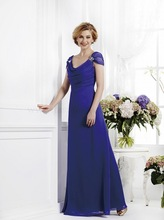 2015 Cap Sleeves Royal Blue Mother Of The Bride Dresses