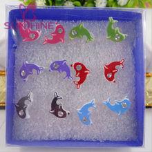 Lovely Dolphin Earring Paint Dolphin Stub Earring Ocean Jewelry