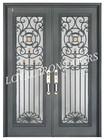 luxurious flat exterior metal double door with iron grill door design