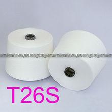 100% virgin raw white unwaxed 26/1 staple fiber polyester yarn