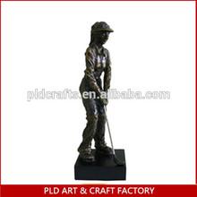 European style retro sliver painting resin golf figurine