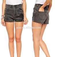 High waisted girls sexy black tight short distressed denim pant cheap denim shorts