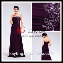 New dress fashion purple organza bridesmaid dress crystal rhinestone belt for wedding dress