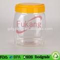 oz 60 grande vazio clear pet plástico comestível embalagem frasco do pó de alimentos suplemento amarela com alça e tampa