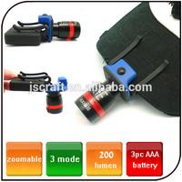 Outdoor 3pc AAA battery powered cap Headlamp waterproof fishing hunting CREE led battery powered led headlight