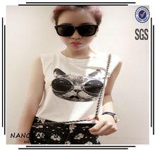 2014New mujeres de moda de la pantalla de impresión camisetas Tee Shirt Slim Fit Tops nueva sin mangas de la camiseta