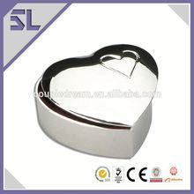 Silver Plating Mirror Polished Finish Heart Shape Small Metal Trinket Box Decorative Jewelry Box China Supply