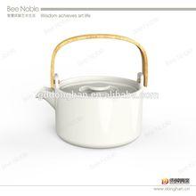 wholesale elegant Bone China Tea Pots with metal handle