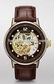 Luxo automático relógios couro real relógio de alta qualidade