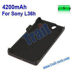 Wholesales 4200mah External Power Backup Battery Case for Sony L36h Xperia Z L36i Yuga C6603 C6602 C660X with a Stand (Black)