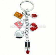 Latest Design Novelty Fashion Rhinestone Alloy Red Lipstick House Keychain
