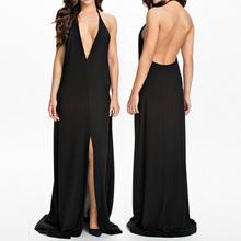 halter sexy chiffon black evening dresses china