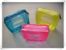 Fashion pvc cosmetic bag with organza top promotion