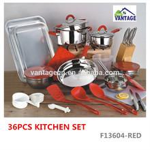 36pcs kitchen set with stainless steel kitchenware(P)