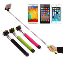 Wireless extendable hand held iphone monopod selfie stick, mobile phone camera monopod with shutter