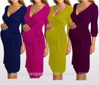 Women's Knee Length Long Sleeve Nursing and Maternity Dress plus size midi wrap pregnant evening dress